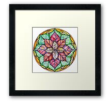 Christmas mandala.Hand draw  ink and pen, Watercolor, on textured paper Framed Print