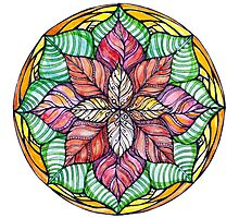 Christmas mandala.Hand draw  ink and pen, Watercolor, on textured paper Photographic Print