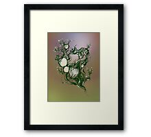 Garden paradise. Hand draw  ink and pen on textured paper Framed Print