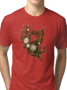 Garden paradise. Hand draw  ink and pen on textured paper Tri-blend T-Shirt
