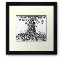 Mandalas Tree.Hand draw  ink and pen on textured paper Framed Print
