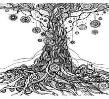 Mandalas Tree.Hand draw  ink and pen on textured paper Photographic Print