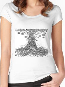Mandalas Tree.Hand draw  ink and pen on textured paper Women's Fitted Scoop T-Shirt