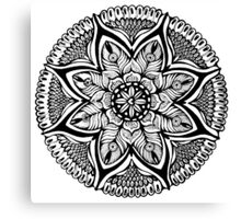 Black and White MANDALA. Hand draw  ink and pen on textured paper Canvas Print