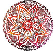 Mandala#3. Hand draw  ink and pen on textured paper Photographic Print