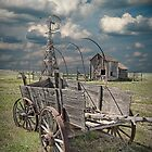 Frontier Covered Wagon on the Farm by Randall Nyhof
