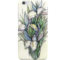 Beautiful iris - Hand draw  ink and pen, Watercolor, on textured paper iPhone Case/Skin