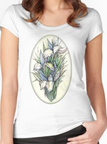 Beautiful iris - Hand draw  ink and pen, Watercolor, on textured paper Women's Fitted Scoop T-Shirt
