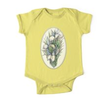 Beautiful iris - Hand draw  ink and pen, Watercolor, on textured paper One Piece - Short Sleeve