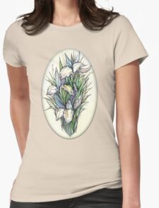 Beautiful iris - Hand draw  ink and pen, Watercolor, on textured paper Womens Fitted T-Shirt
