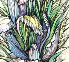 Beautiful iris - Hand draw  ink and pen, Watercolor, on textured paper Sticker