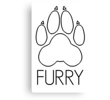 Furry - pawprint black text- Canvas Print