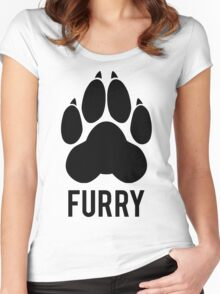FURRY pawprint -black- Women's Fitted Scoop T-Shirt