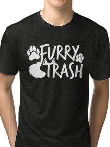 Furry Trash -white- Tri-blend T-Shirt