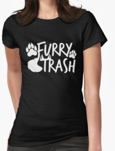 Furry Trash -white- Womens Fitted T-Shirt