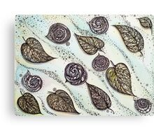 Winter Snails and Leaf.  Hand draw  ink and pen, Watercolor, on textured paper Canvas Print