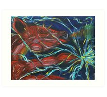 Thunderbolt Piggy Snorting Fire Threw its nose and Electricity threw its Hands  Art Print