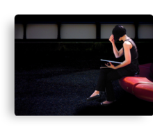 girl on a red seat Canvas Print