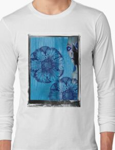 Blue Flower Alien Extraterrestrial Long Sleeve T-Shirt