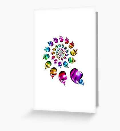 Rainbow Heart Wheel on White Greeting Card