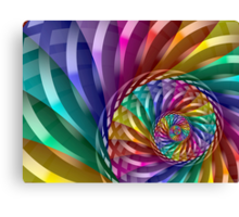 Metallic Spiral Rainbow Canvas Print