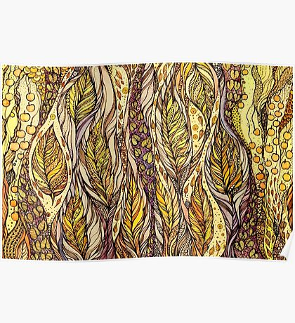 Autumn Dreams.Hand draw  ink and pen, Watercolor, on textured paper Poster