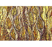 Autumn Dreams.Hand draw  ink and pen, Watercolor, on textured paper Photographic Print