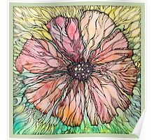 Red Poppy.Hand draw  ink and pen, Watercolor, on textured paper Poster