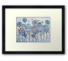 Winter flowers.Hand draw  ink and pen, Watercolor, on textured paper Framed Print