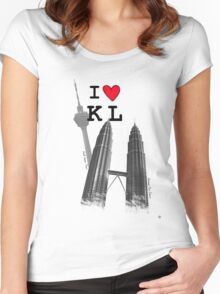 I Love KL Tower & KLCC Women's Fitted Scoop T-Shirt