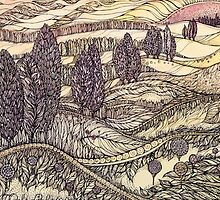 Sunset in California.Hand draw  ink and pen, Watercolor, on textured paper by Sviatlana Kandybovich