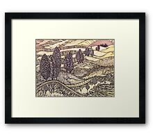 Sunset in California.Hand draw  ink and pen, Watercolor, on textured paper Framed Print