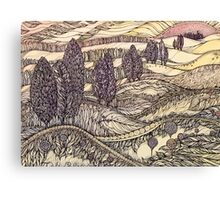 Sunset in California.Hand draw  ink and pen, Watercolor, on textured paper Canvas Print
