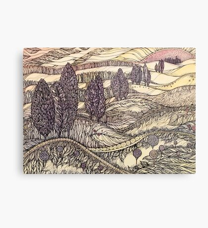 Sunset in California.Hand draw  ink and pen, Watercolor, on textured paper Metal Print