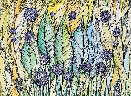 Dandelions.Hand draw  ink and pen, Watercolor, on textured paper by Sviatlana Kandybovich