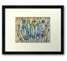 Dandelions.Hand draw  ink and pen, Watercolor, on textured paper Framed Print