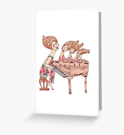 dreamily singing at piano with three beautiful girls Greeting Card