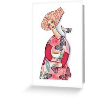 Butterfly Lady feeding her crooning bird friend Greeting Card