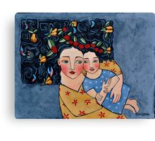 mother and daughter wrapped in love's harvest Canvas Print