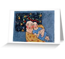 mother and daughter wrapped in love's harvest Greeting Card