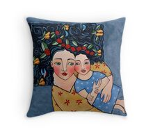 mother and daughter wrapped in love's harvest Throw Pillow