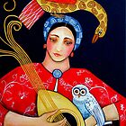 The Owl, Mandolin and Lady Fee in a coloured sea by Orana