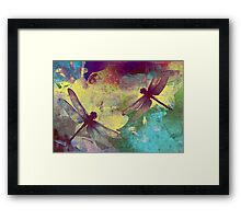 Painting Dragonflies & Orchids. Framed Print