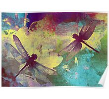Painting Dragonflies & Orchids. Poster