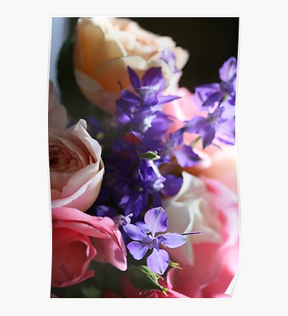 bedside table flowers Poster
