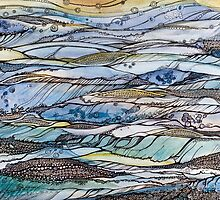 Ocean my fantasies.Hand draw  ink and pen, Watercolor, on textured paper by Sviatlana Kandybovich