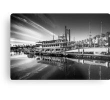 Yacht at the Shoreline Village Metal Print