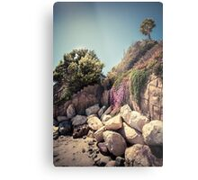 Lonely palm tree on the rocky coast Metal Print