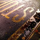 Fall Stop - Abstract rainy Manchester bus stop by electrocub