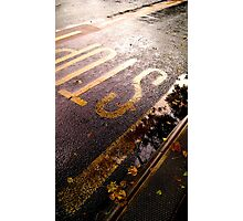 Fall Stop - Abstract rainy Manchester bus stop Photographic Print